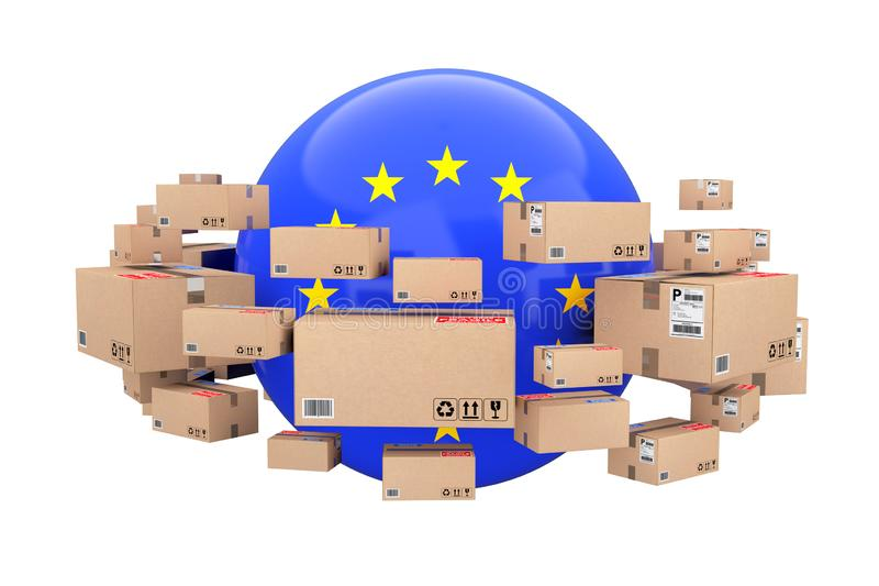 Global Shipping and Logistic Concept. Sphere with European Union royalty free illustration