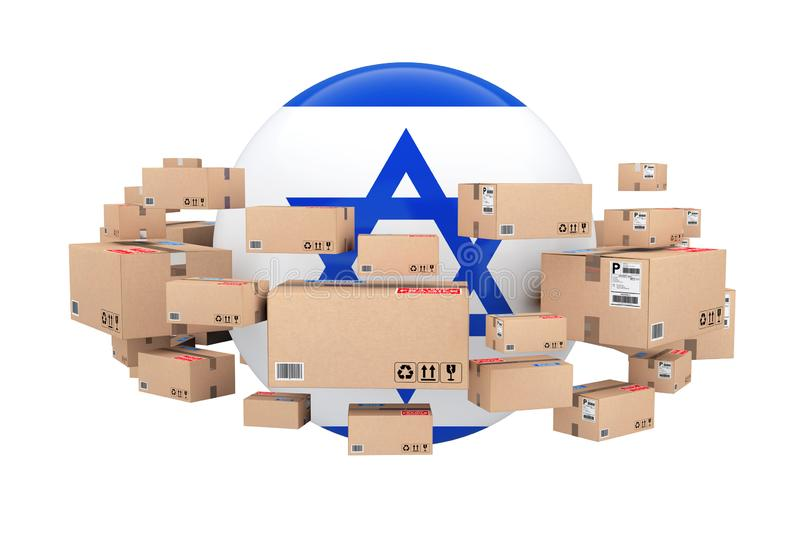 Global Shipping and Logistic Concept. Sphere with Israel Flag Surrounded by Cardboard Boxes with Parcel Goods. 3d Rendering stock illustration