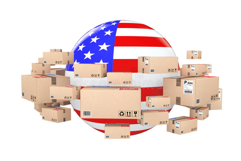 Global Shipping and Logistic Concept. Sphere with USA Flag Surrounded by Cardboard Boxes with Parcel Goods. 3d Rendering vector illustration