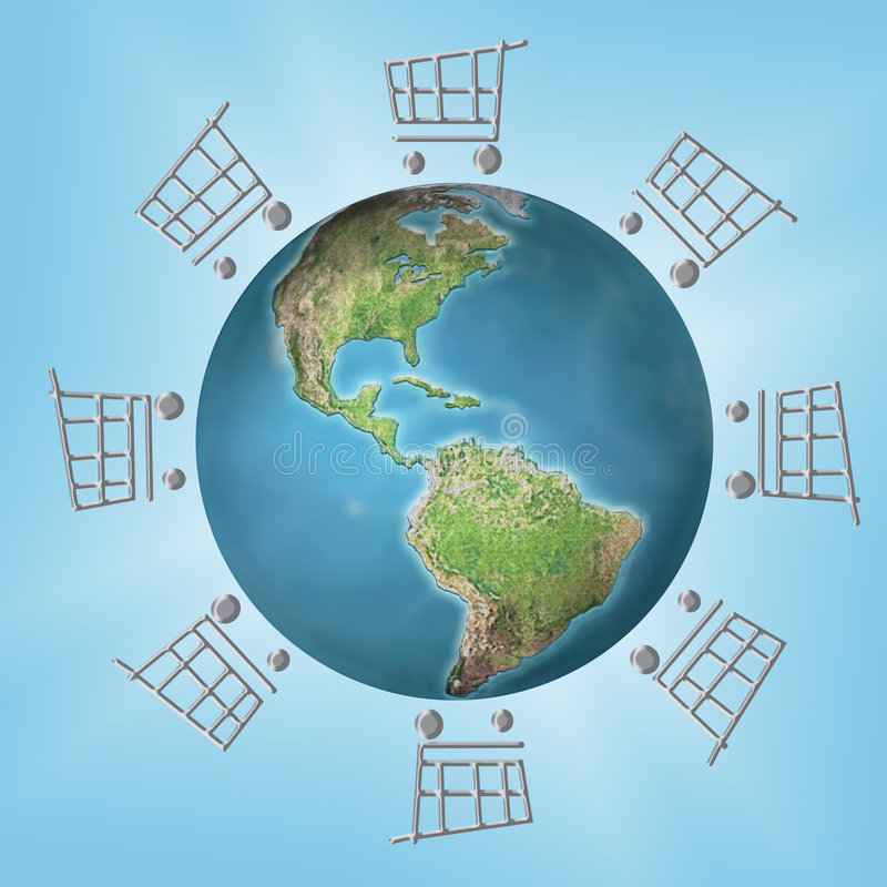 global shopping royaltyfri illustrationer
