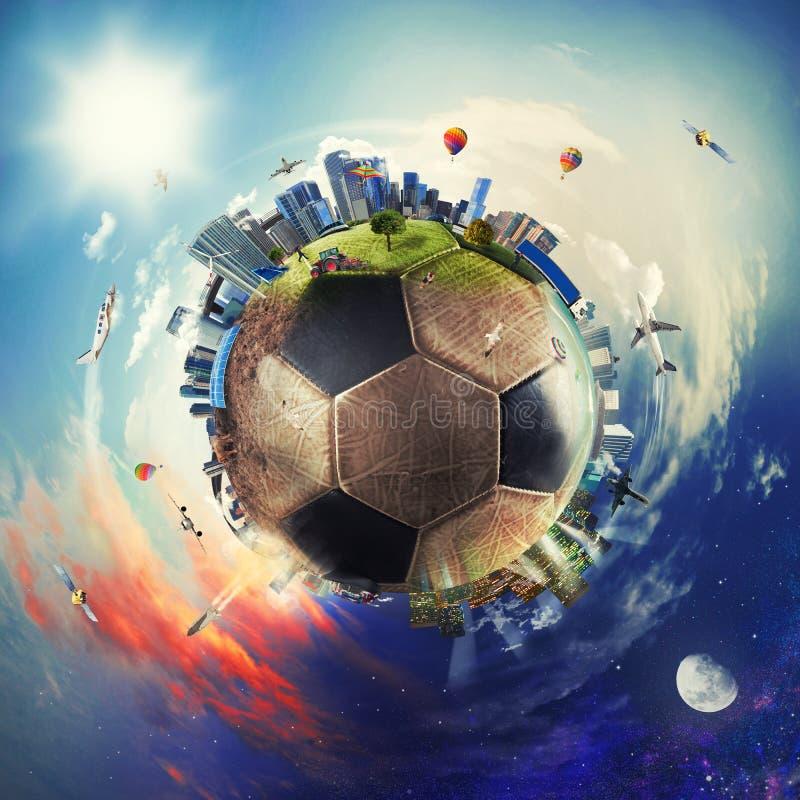 Global sikt av fotbollvärlden fotbollboll som en planet royaltyfri illustrationer