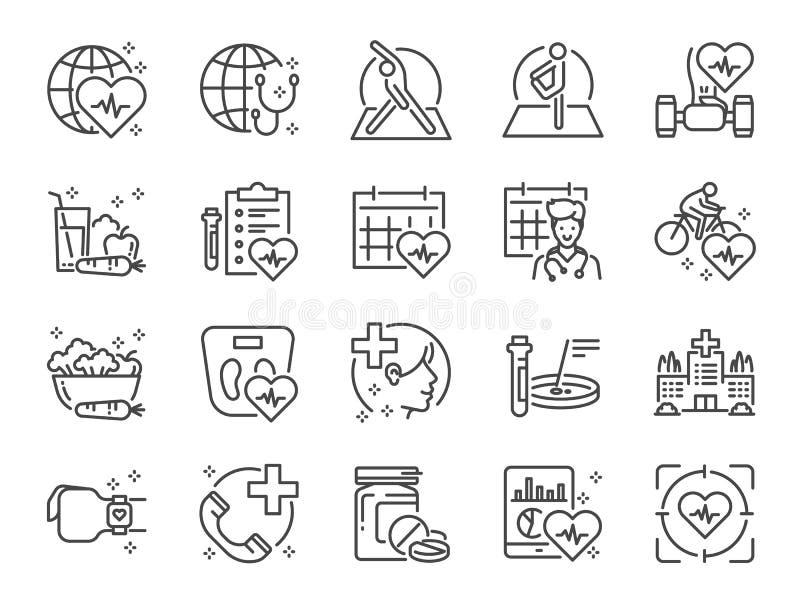 Global sjukvårdlinje symbolsuppsättning Bland annat symboler som övningen, den vård- kontrollen, sund mat, wellnessmitt, doktor o royaltyfri illustrationer