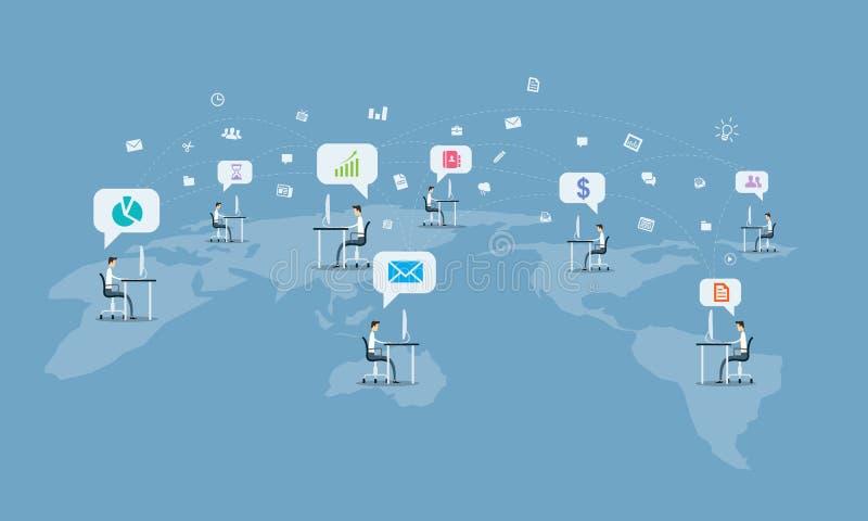 Global social bakgrund för anslutning för affärskommunikation stock illustrationer
