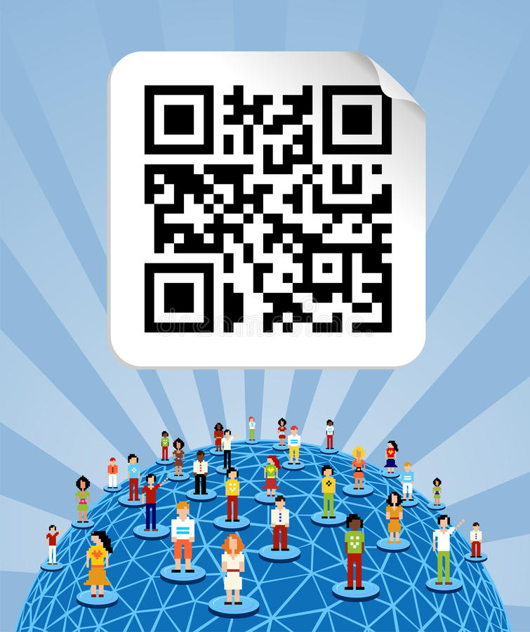 Global social media network with QR code