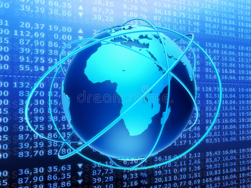 Global stock market. 3d rendered illustration of a stock market and a globe
