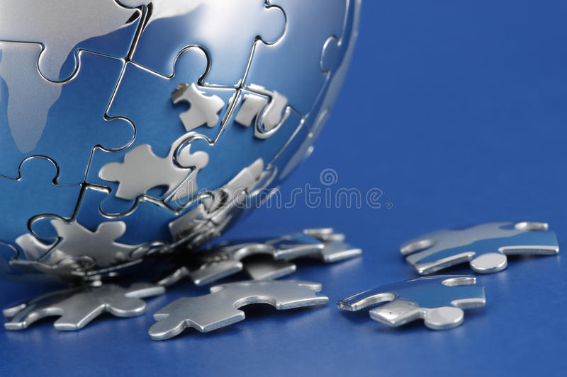 Global strategy. Global environment solution concept - earth jigsaw puzzle stock images