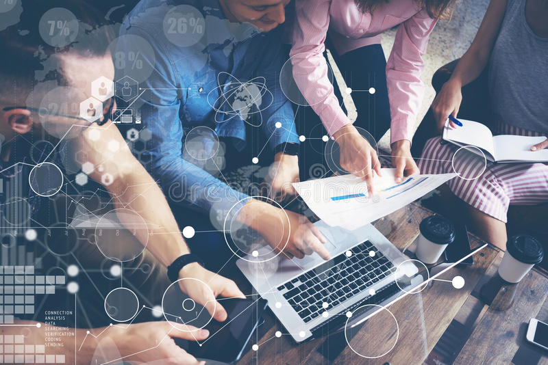 Global Strategy Connection Data Virtual Icon Innovation Graph Interface.Startup Diversity Teamwork Brainstorming Meeting. Concept.Business People Coworkers stock images