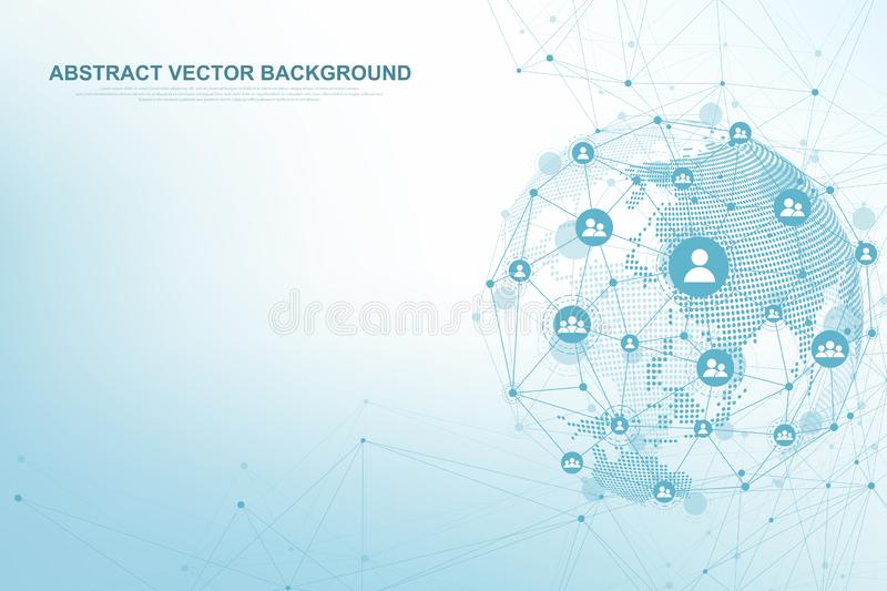 Global structure networking and data connection concept. Social network communication in the global computer networks vector illustration