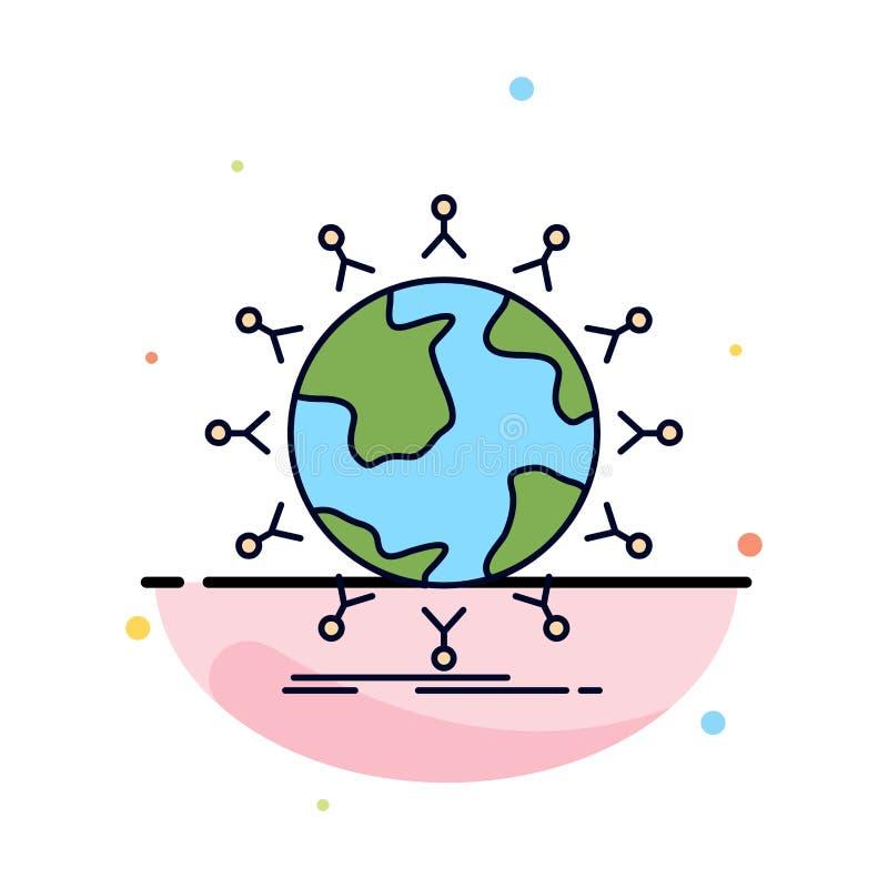 global, Student, Netz, Kugel, Kindflacher Farbikonen-Vektor stock abbildung