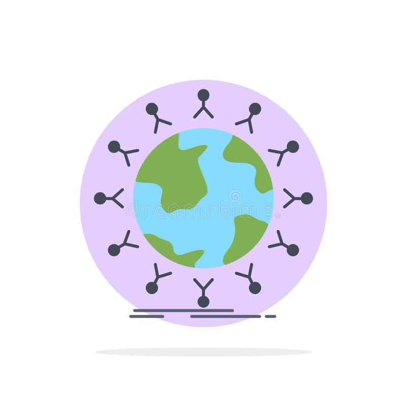 global, Student, Netz, Kugel, Kindflacher Farbikonen-Vektor lizenzfreie abbildung