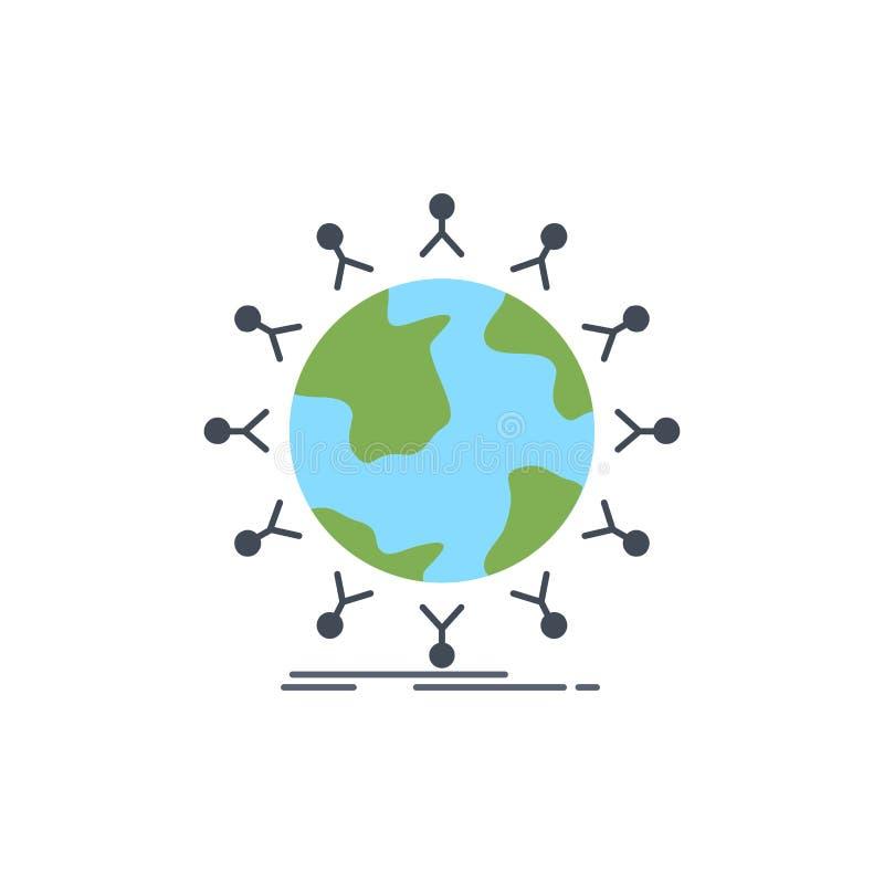 global, Student, Netz, Kugel, Kindflacher Farbikonen-Vektor vektor abbildung