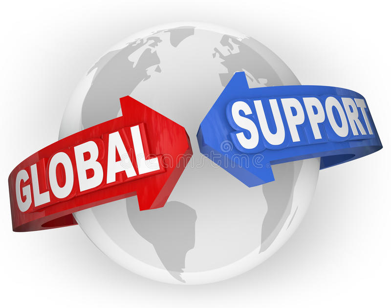Global Support Arrows Around World International Aid. The words Global Support on arrows around a globe planet Earth to illustrate international aid, support and royalty free illustration