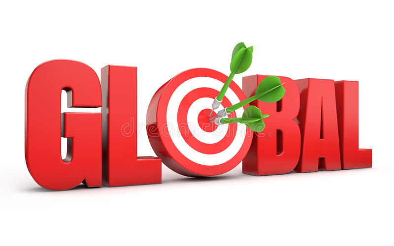 Global target seo. Red global text and dart hitting a target white background stock illustration