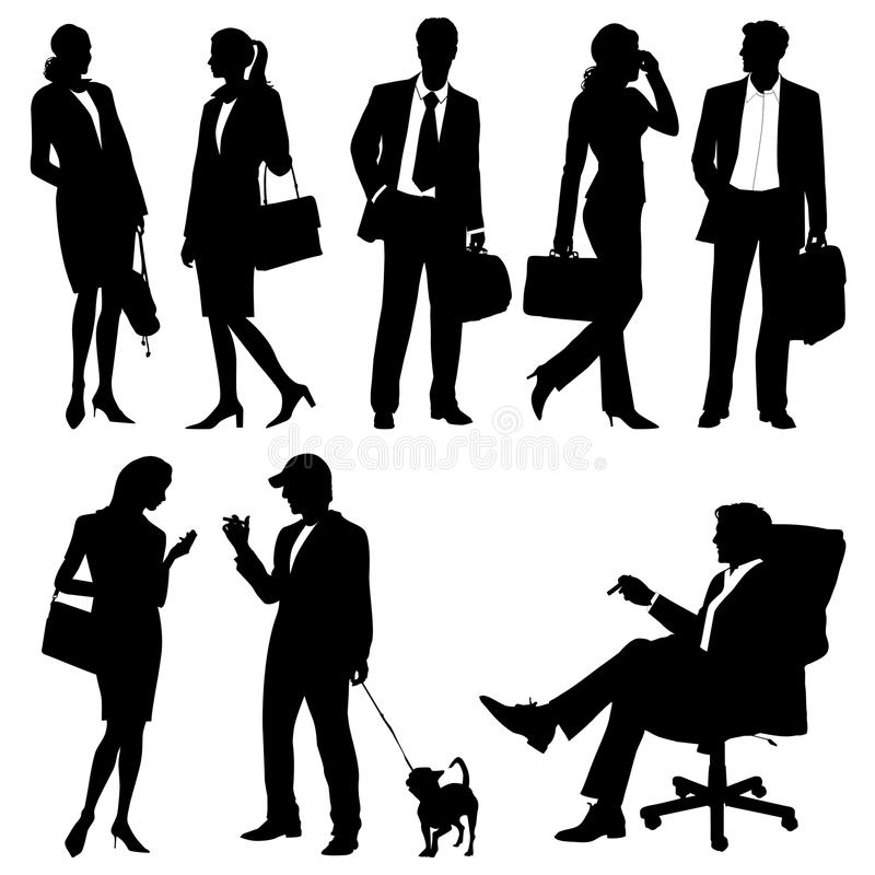 Global team - silhouettes. Global team - 2d silhouettes vector