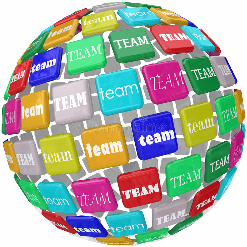 Global Team Word Tiles International Business gruppräckvidd Workin stock illustrationer