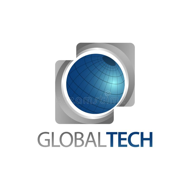 Global Tech. Three dimensional square world globe icon logo concept design template. Idea royalty free illustration