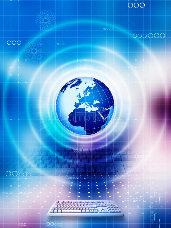 Global technology. Computer and global technology background royalty free illustration