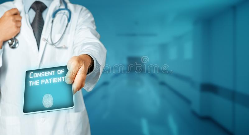Global Technology In Medicine And Healthcare ConceptDoctor Using Tablet, Results Of Testing And Data Registration, Patient Consent royalty free stock photography
