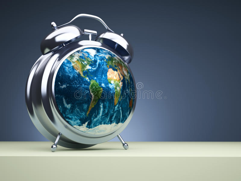 Global time. Conceptual Earth globe on alarm clock looking like a radar - 3d render stock illustration