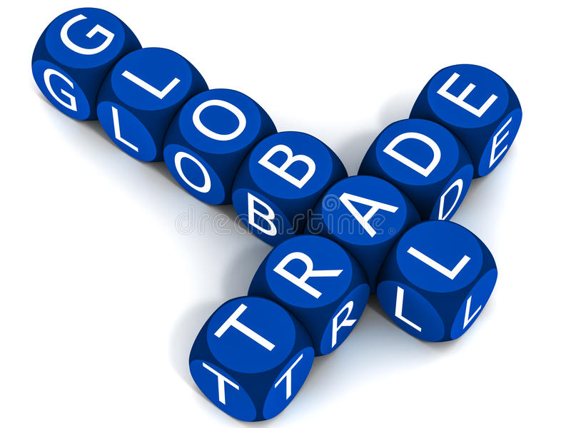 Global trade. Blocks making the words global trade in business blue colors, on white background. international trade concept royalty free illustration