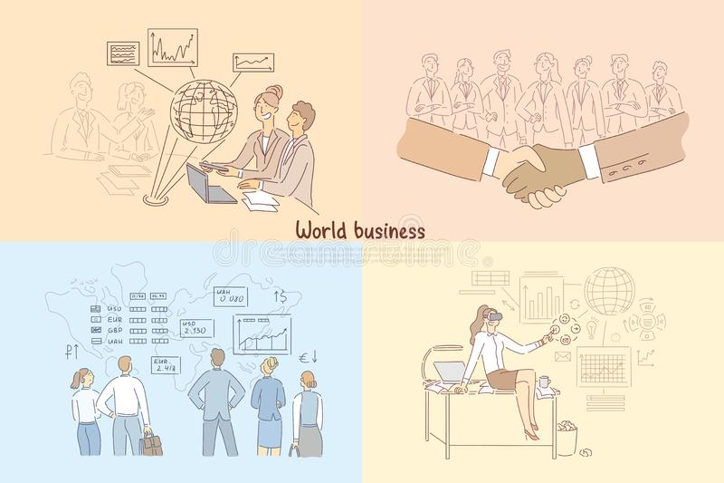 Global trade, digitalized business development, international partnership, stock market analytics, global trade banner. Global trade, digitized business royalty free illustration