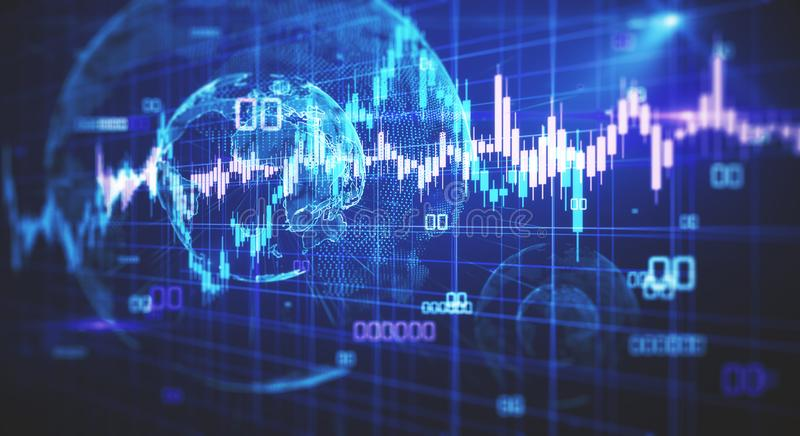 Global trade and stock concept. Creative glowing blurry forex chart background with candlestick and globe. Global trade and stock concept. 3D Rendering royalty free illustration