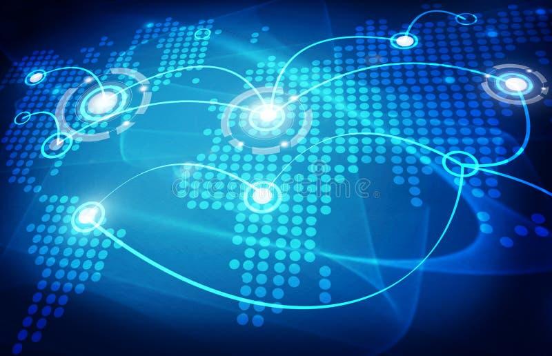 Global trading map. Blue global trading dot map vector illustration