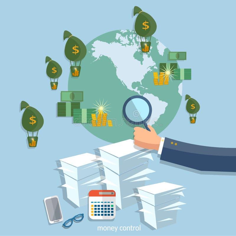 Global transactions business concept startup businessman finance. Online transfer banking online payments office work paperwork vector illustration royalty free illustration