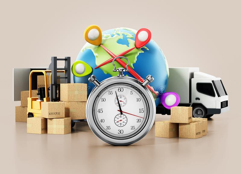 Global transportation concept with cargo boxes, chronometer,truck and globe. 3D illustration royalty free illustration