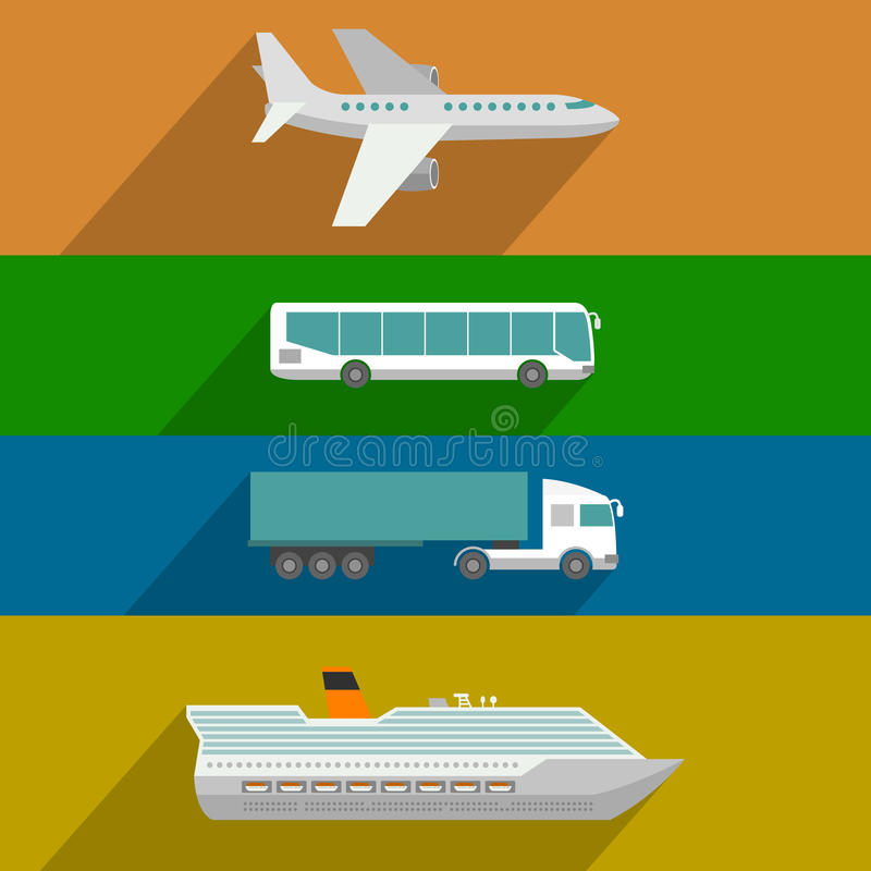 Global Transportation Icons. Global transportation. Plane, cruise liner, bus and truck icons. Flat design illustration royalty free illustration