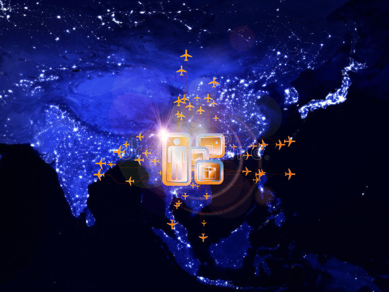 Global travel. Rendering of city light map (courtesy of NASA), abstract lights and symbols on the subject of global transportation, travel, mail and shipping stock illustration