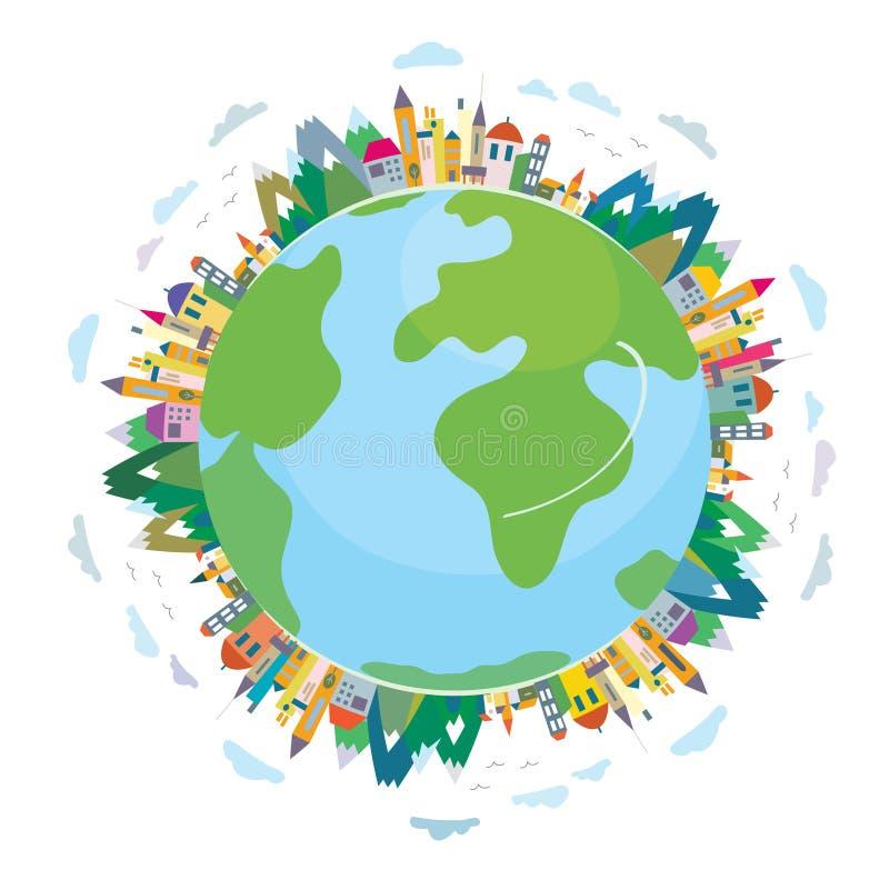 Global travel concept - cute design royalty free illustration