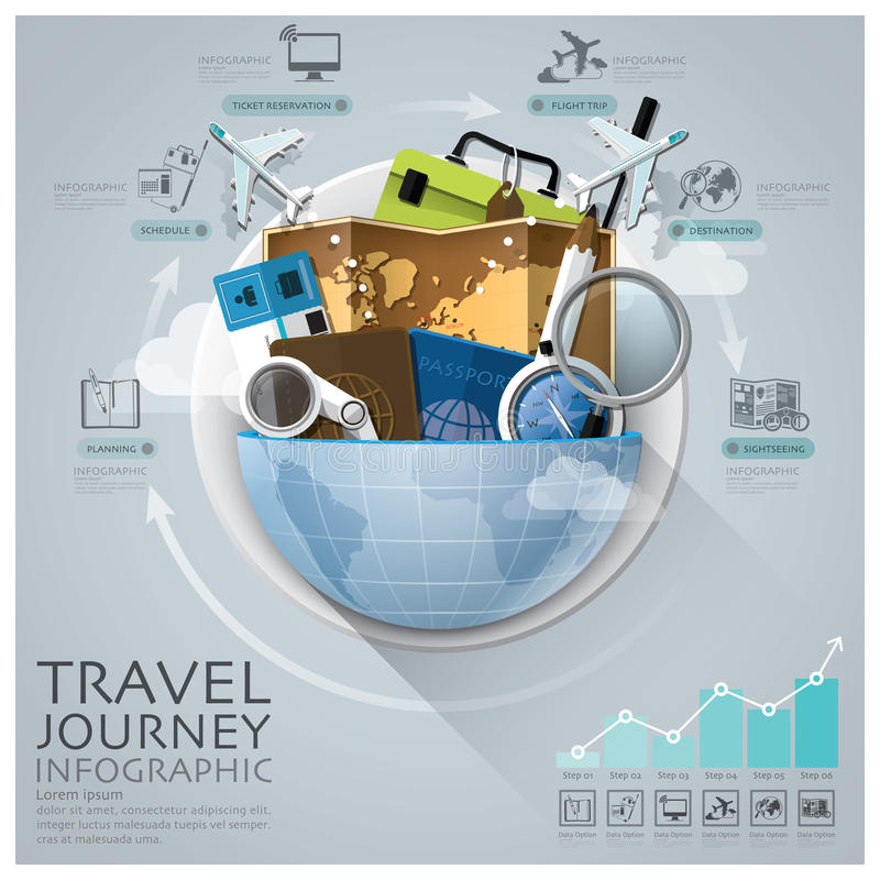 Global Travel And Journey Infographic With Round Circle Diagram royalty free illustration