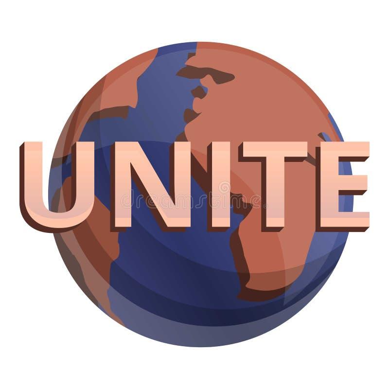 Global una o ícone, estilo dos desenhos animados ilustração stock