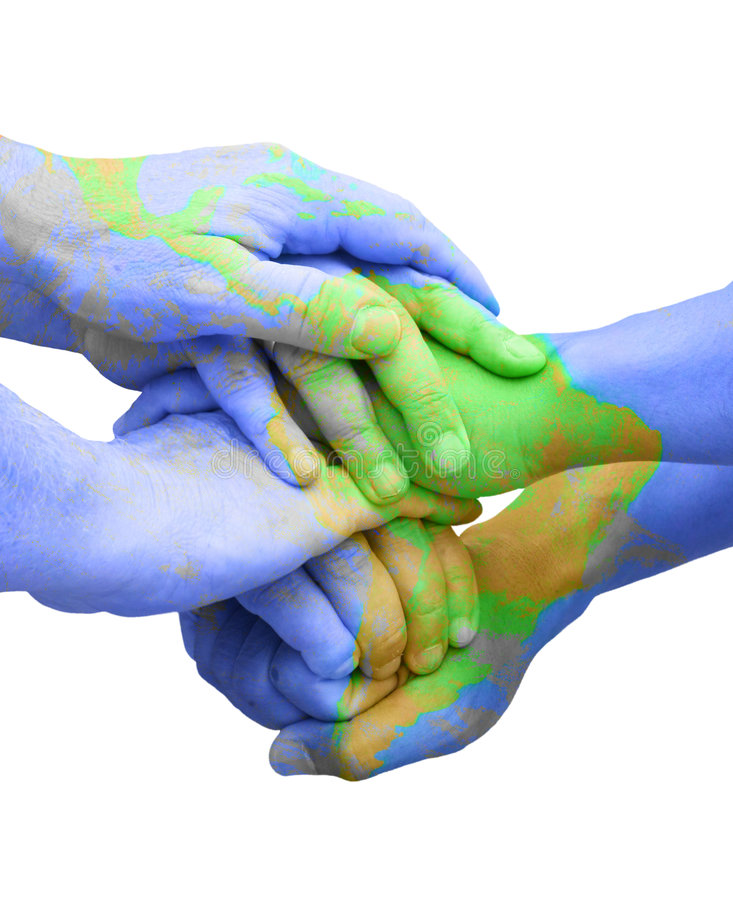 Global Unity for Responsibility. Teamwork Hands Painted Like a Map Representing Universal Global Responsibility royalty free stock photos