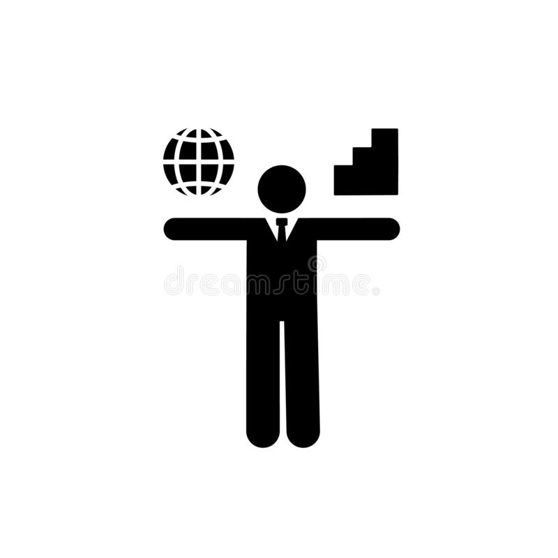 Global, universal, chart icon. Element of businessman icon. Premium quality graphic design icon. Signs and symbols collection icon. For websites, web design stock illustration