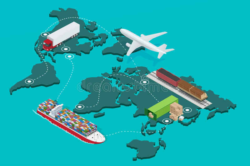 Global uppsättning för symboler för illustration för logistiknätverkslägenhet 3d isometrisk av maritimt trans. för flygfrakttrans royaltyfri illustrationer