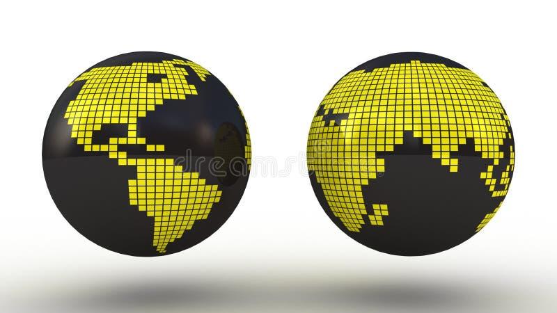 Global uppsättning med översiktsserie stock illustrationer
