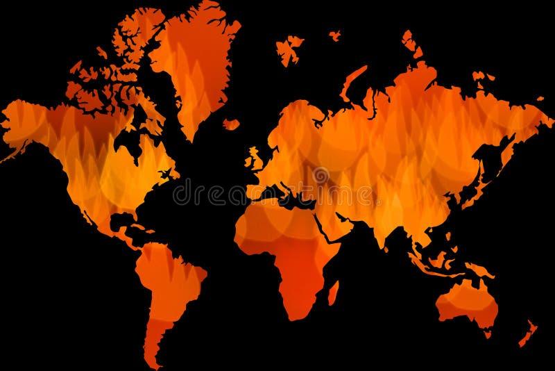 Global uppvärmning världsomspännande problem, små brandsymboler som världskarta royaltyfri illustrationer