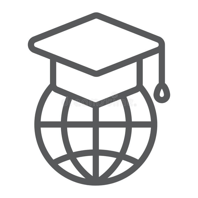 Global utbildningslinje symbol, lära för e royaltyfri illustrationer