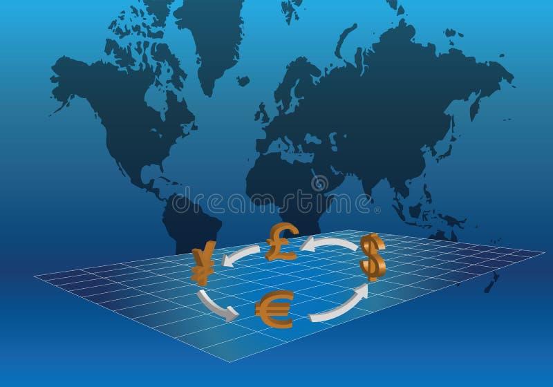 Global valutahandel vektor illustrationer