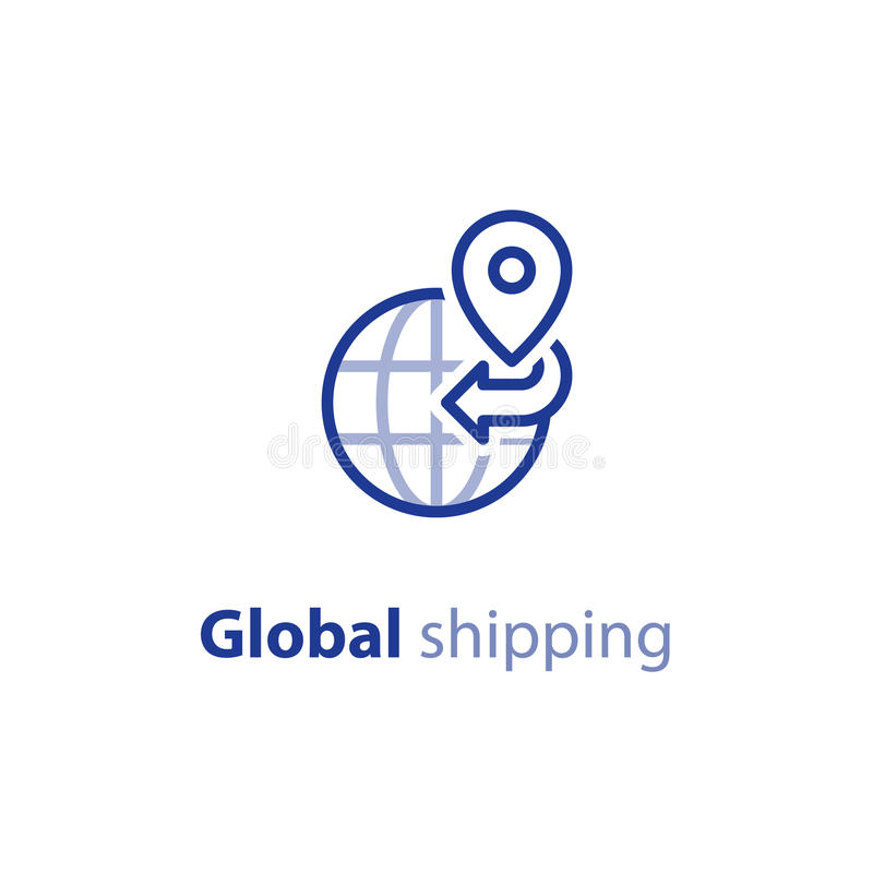 Global versenden, internationales Versandkonzept, Druckleitungsikone stock abbildung