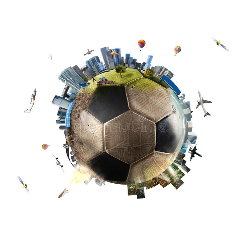 Global view of soccer world. football ball as a planet stock photography