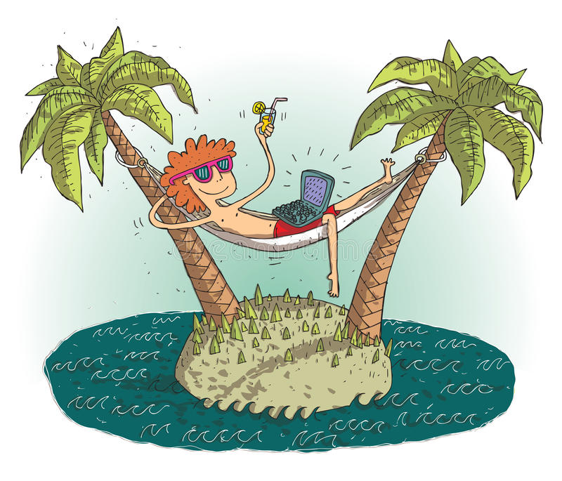 Global village cartoon with satisfied teenager on deserted island stock illustration