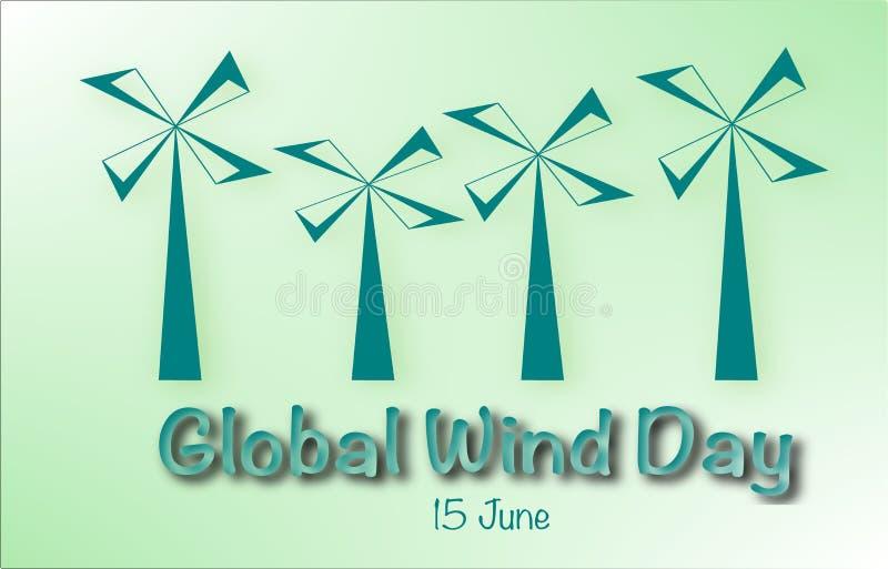 'Global vinddag 'som märker med färgrika väderkvarnar royaltyfri illustrationer