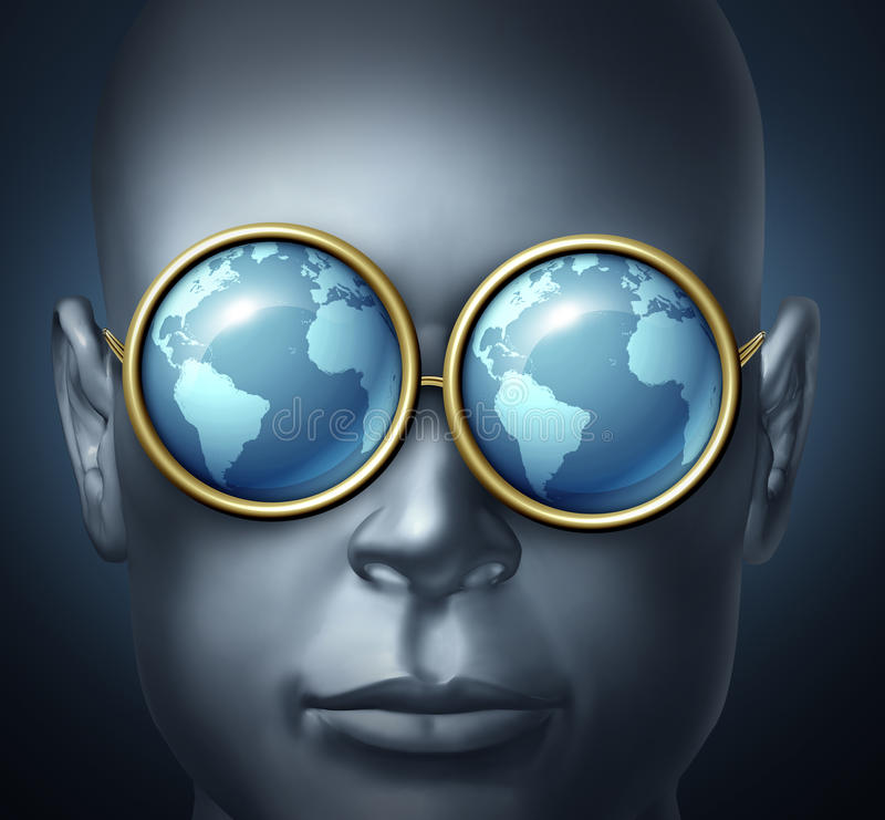 Global Vision. And world investor business symbol with a businessman icon wearing eye glasses with the reflection of the planet as a concept of international stock illustration