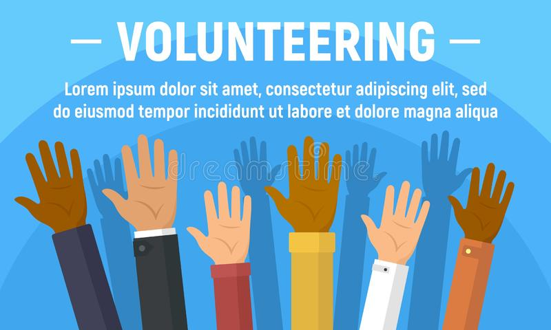 Global volunteering concept banner, flat style stock illustration