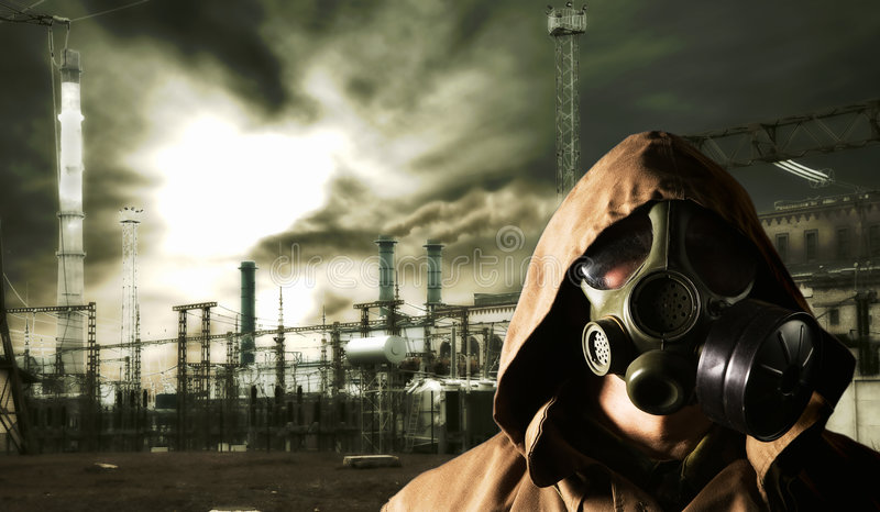 Global warming. Portrait of active factory, Global warming stock photography