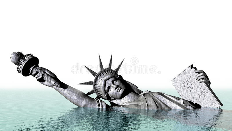 Global Warming Abstract Concept. Abstract concept for global warming and climate change. Statue of Liberty representing freedom and liberty sink in rising waters