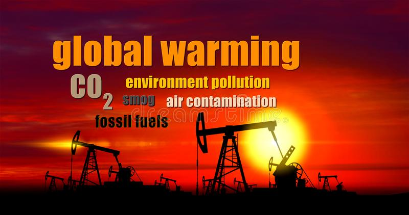 Global warming buzzwords - oil pump on sunset background royalty free illustration